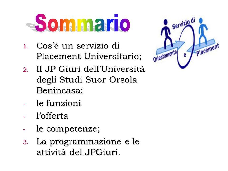 1.Cosè un servizio di Placement Universitario; 2.