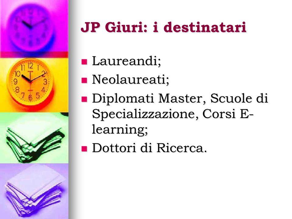 JP Giuri: i destinatari Laureandi; Laureandi; Neolaureati; Neolaureati; Diplomati Master, Scuole di Specializzazione, Corsi E- learning; Diplomati Master, Scuole di Specializzazione, Corsi E- learning; Dottori di Ricerca.