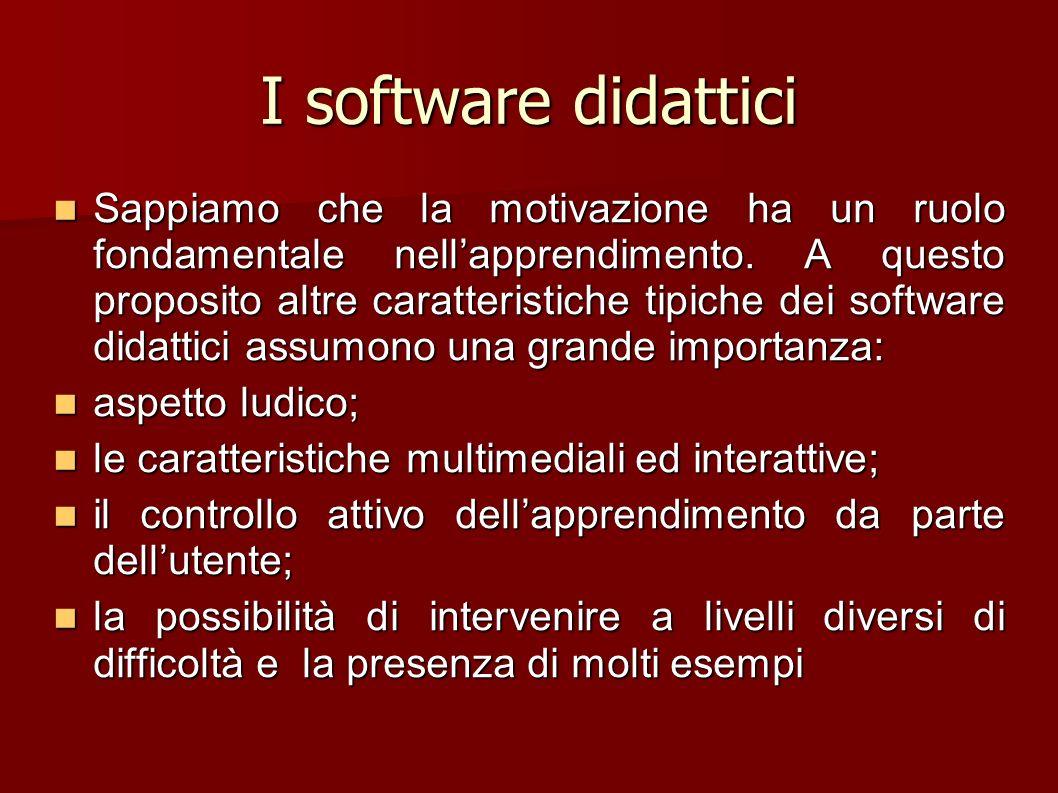 I software didattici Sappiamo che la motivazione ha un ruolo fondamentale nellapprendimento. A questo proposito altre caratteristiche tipiche dei soft