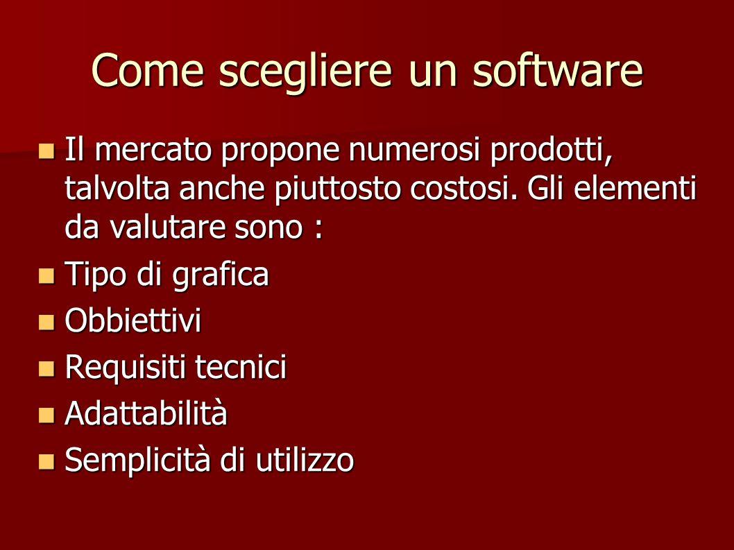 Come scegliere un software Il mercato propone numerosi prodotti, talvolta anche piuttosto costosi. Gli elementi da valutare sono : Il mercato propone