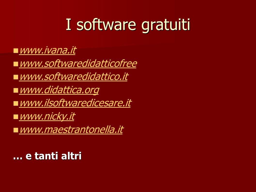 I software gratuiti www.ivana.it www.softwaredidatticofree www.softwaredidattico.it www.didattica.org www.ilsoftwaredicesare.it www.nicky.it www.maest