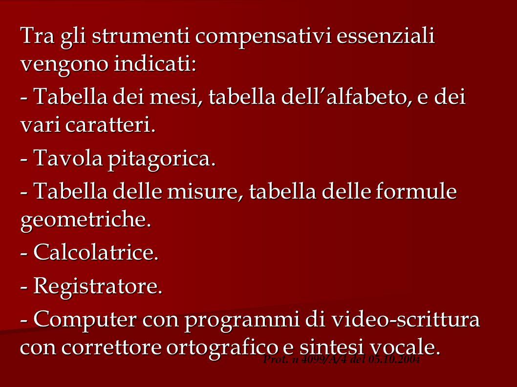 Tra gli strumenti compensativi essenziali vengono indicati: - Tabella dei mesi, tabella dellalfabeto, e dei vari caratteri. - Tavola pitagorica. - Tab
