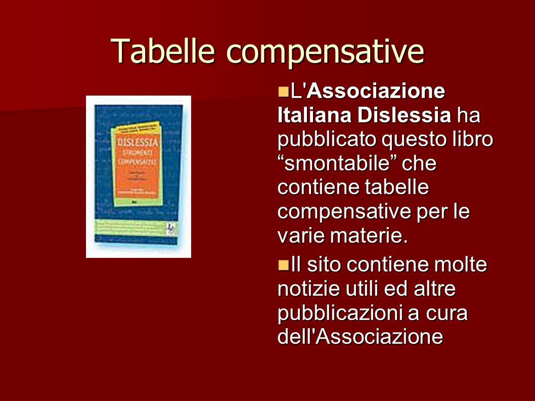Tabelle compensative L'Associazione Italiana Dislessia ha pubblicato questo libro smontabile che contiene tabelle compensative per le varie materie. L