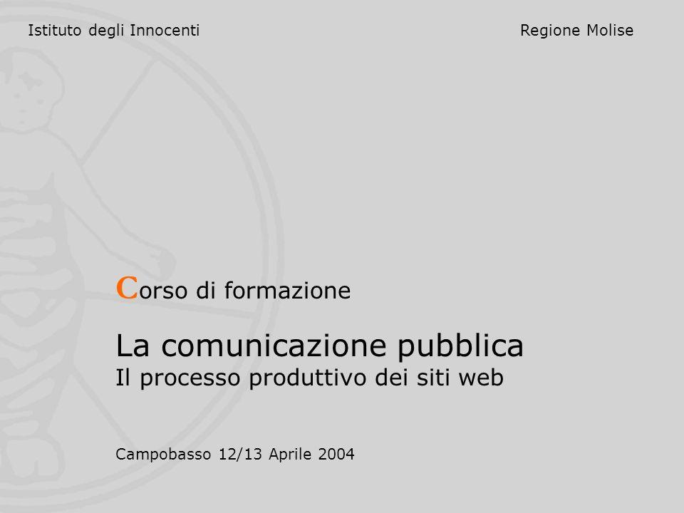 Istituto degli InnocentiRegione Molise C orso di formazione La comunicazione pubblica Il processo produttivo dei siti web Campobasso 12/13 Aprile 2004