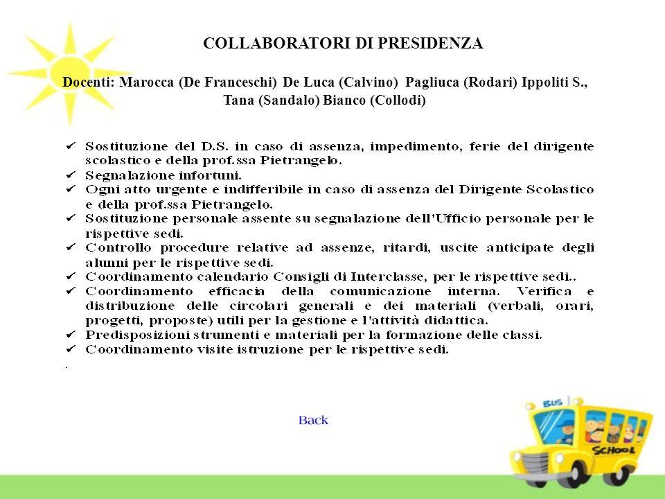 COLLABORATORI DI PRESIDENZA Docenti: Marocca (De Franceschi) De Luca (Calvino) Pagliuca (Rodari) Ippoliti S., Tana (Sandalo) Bianco (Collodi)