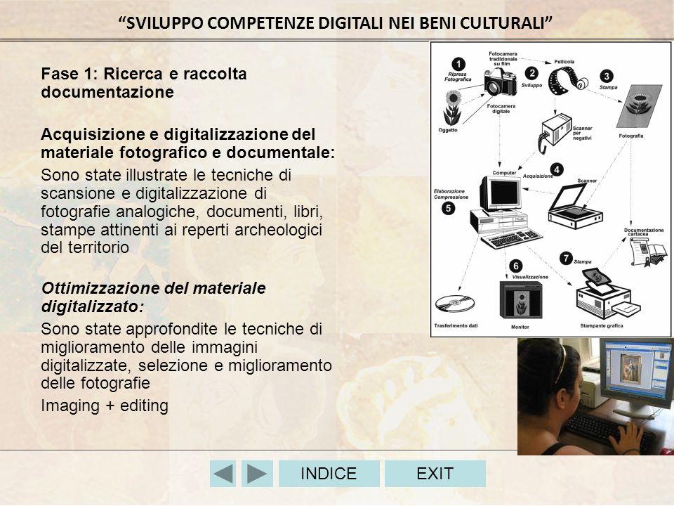 SVILUPPO COMPETENZE DIGITALI NEI BENI CULTURALI INDICEEXIT Fase 1: Ricerca e raccolta documentazione Acquisizione e digitalizzazione del materiale fot