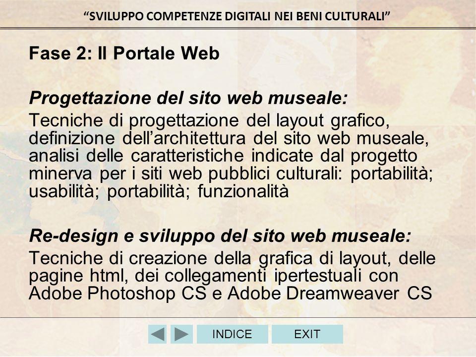 SVILUPPO COMPETENZE DIGITALI NEI BENI CULTURALI INDICEEXIT Fase 2: Il Portale Web Progettazione del sito web museale: Tecniche di progettazione del la