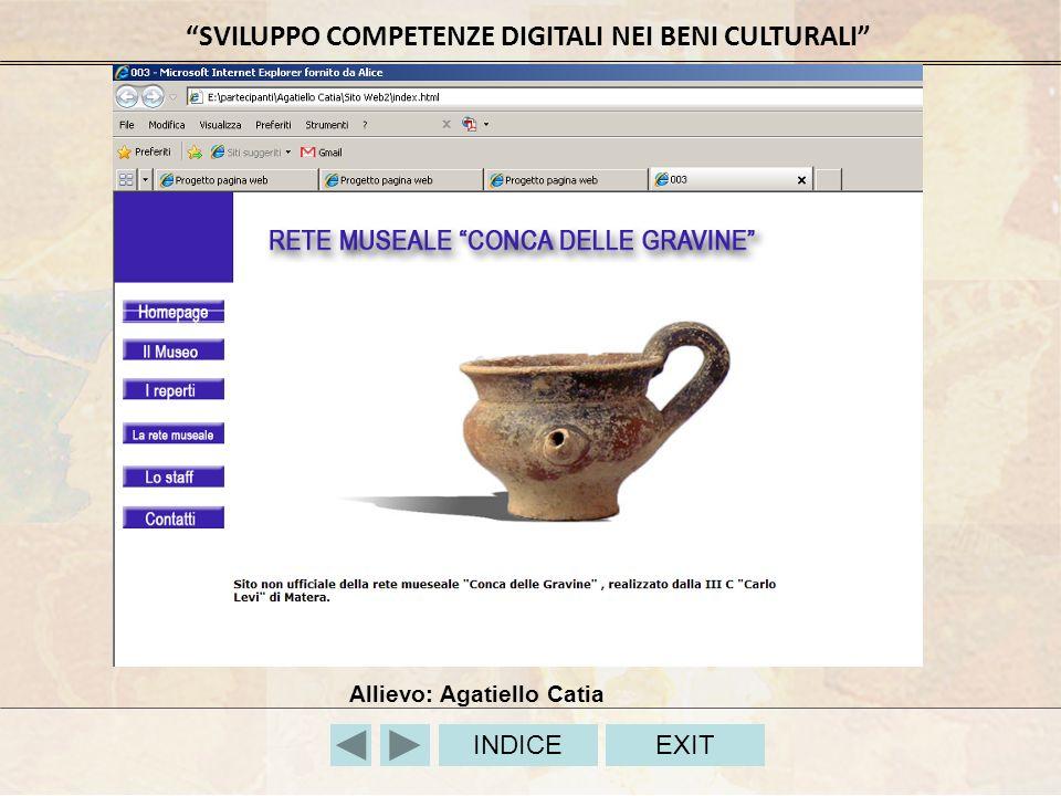 SVILUPPO COMPETENZE DIGITALI NEI BENI CULTURALI INDICEEXIT Allievo: Agatiello Catia