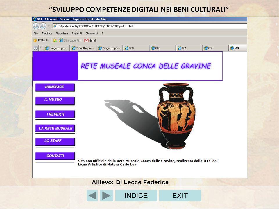 SVILUPPO COMPETENZE DIGITALI NEI BENI CULTURALI INDICEEXIT Allievo: Di Lecce Federica