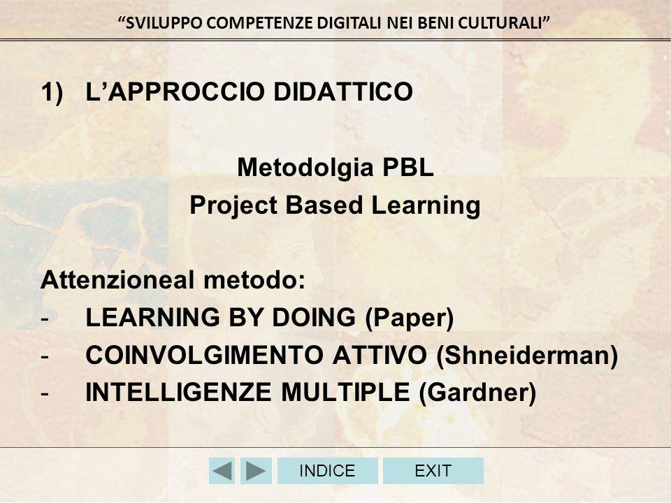 SVILUPPO COMPETENZE DIGITALI NEI BENI CULTURALI INDICEEXIT 1)LAPPROCCIO DIDATTICO Metodolgia PBL Project Based Learning Attenzioneal metodo: -LEARNING