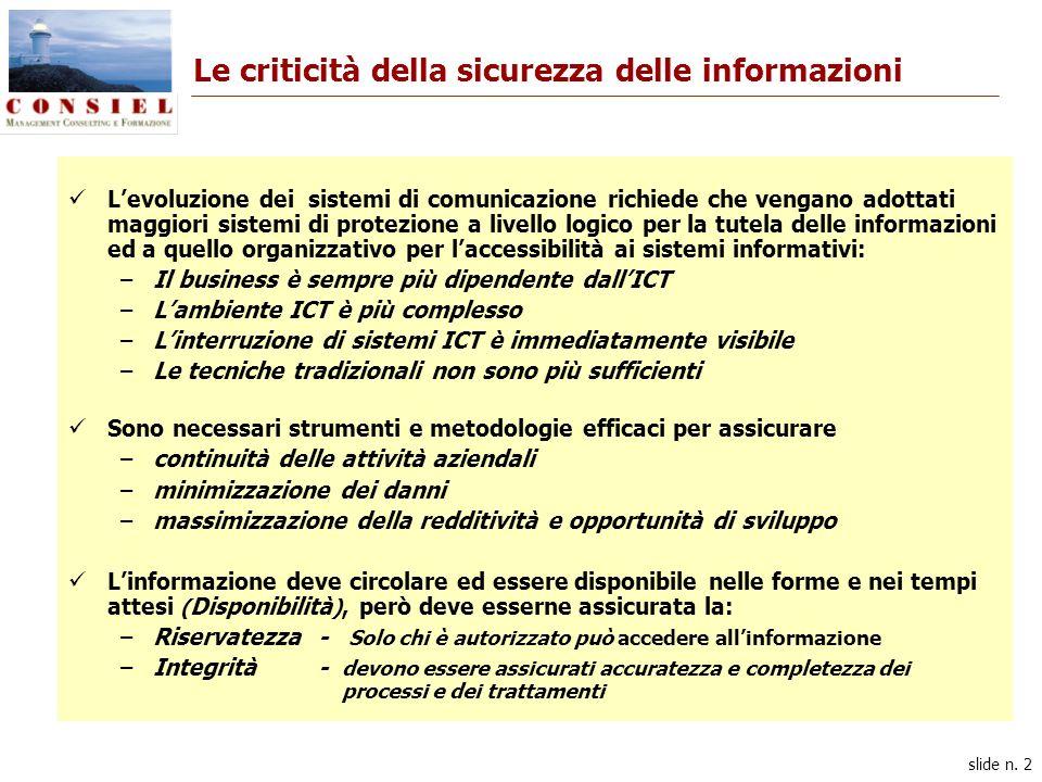 slide n. 2 Le criticità della sicurezza delle informazioni Levoluzione dei sistemi di comunicazione richiede che vengano adottati maggiori sistemi di