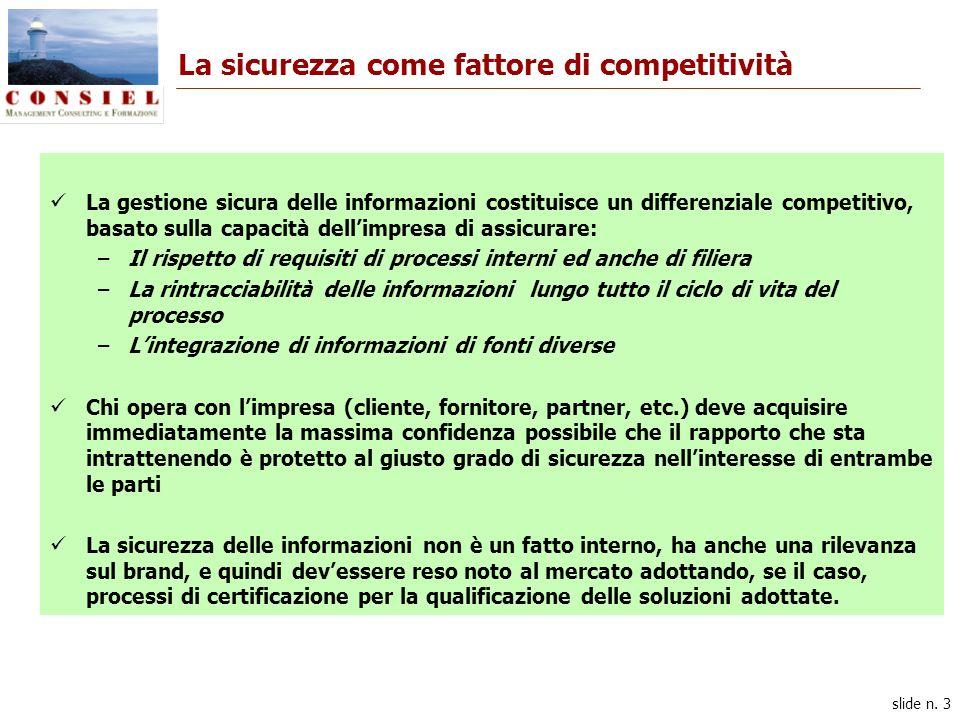 slide n. 3 La sicurezza come fattore di competitività La gestione sicura delle informazioni costituisce un differenziale competitivo, basato sulla cap