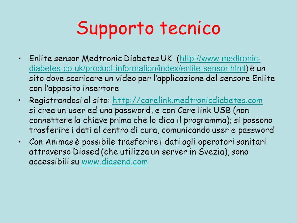 Supporto tecnico Enlite sensor Medtronic Diabetes UK ( http://www.medtronic- diabetes.co.uk/product-information/index/enlite-sensor.html) è un sito dove scaricare un video per lapplicazione del sensore Enlite con lapposito insertore http://www.medtronic- diabetes.co.uk/product-information/index/enlite-sensor.html Registrandosi al sito: http://carelink.medtronicdiabetes.com si crea un user ed una password, e con Care link USB (non connettere la chiave prima che lo dica il programma); si possono trasferire i dati al centro di cura, comunicando user e passwordhttp://carelink.medtronicdiabetes.com Con Animas è possibile trasferire i dati agli operatori sanitari attraverso Diased (che utilizza un server in Svezia), sono accessibili su www.diasend.comwww.diasend.com