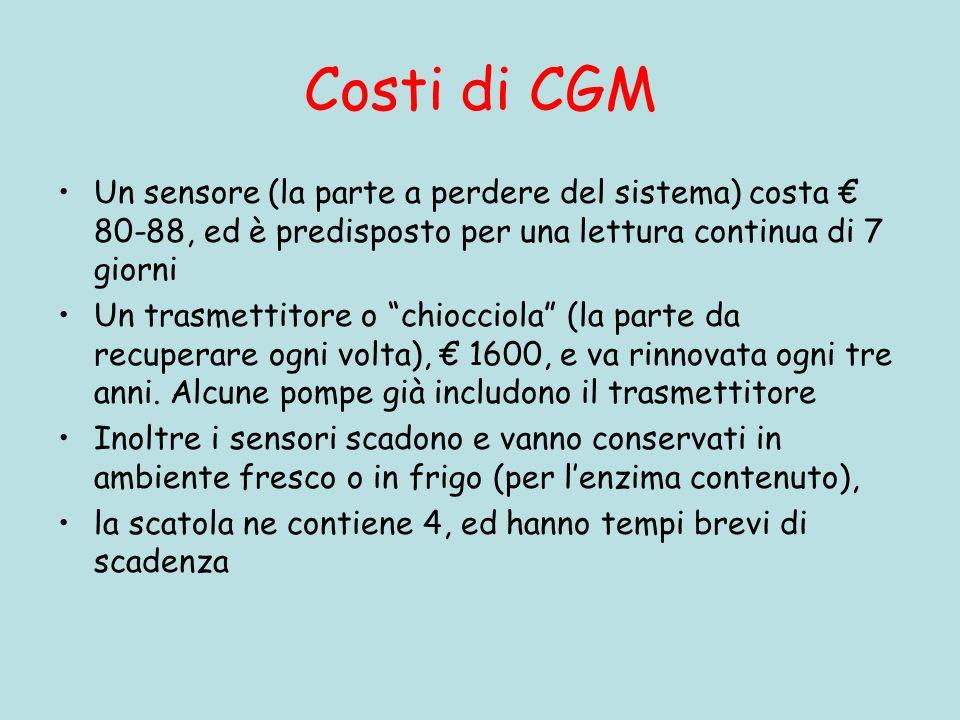 Costi di CGM Un sensore (la parte a perdere del sistema) costa 80-88, ed è predisposto per una lettura continua di 7 giorni Un trasmettitore o chiocciola (la parte da recuperare ogni volta), 1600, e va rinnovata ogni tre anni.