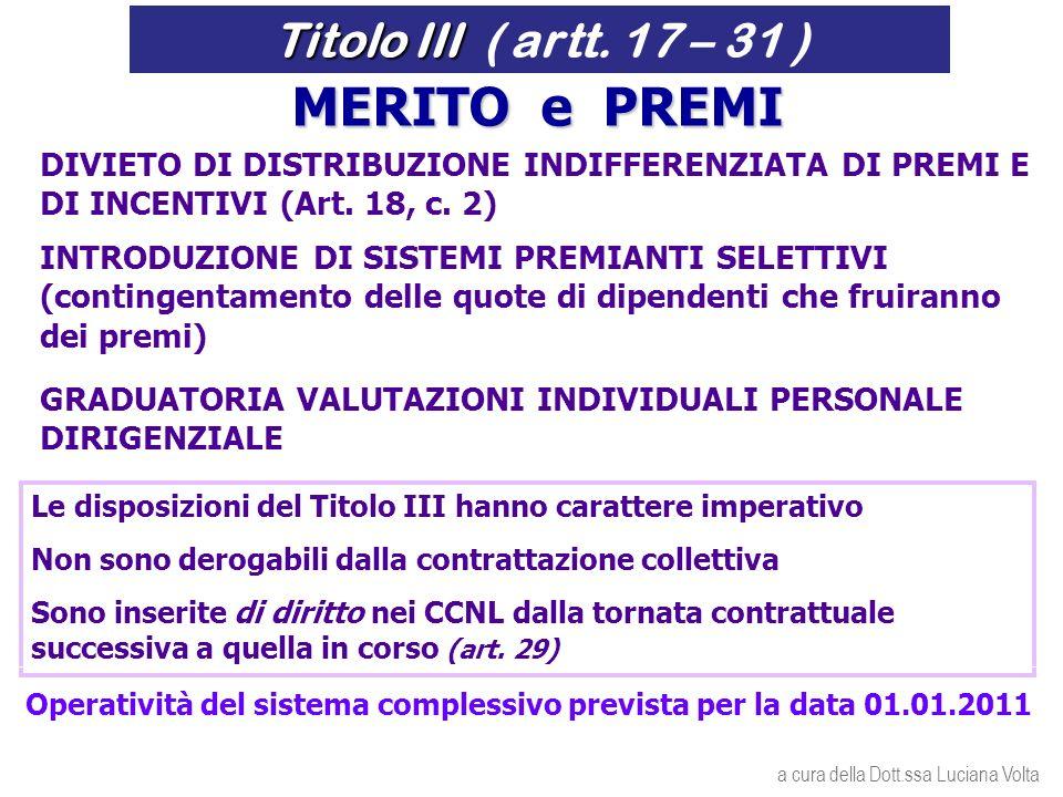 GRADUATORIA VALUTAZIONI INDIVIDUALI PERSONALE DIRIGENZIALE DIVIETO DI DISTRIBUZIONE INDIFFERENZIATA DI PREMI E DI INCENTIVI (Art.