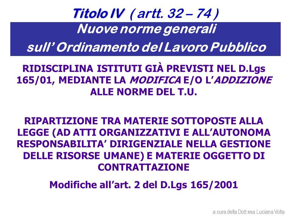 Nuove norme generali sull Ordinamento del Lavoro Pubblico RIDISCIPLINA ISTITUTI GIÀ PREVISTI NEL D.Lgs 165/01, MEDIANTE LA MODIFICA E/O LADDIZIONE ALLE NORME DEL T.U.