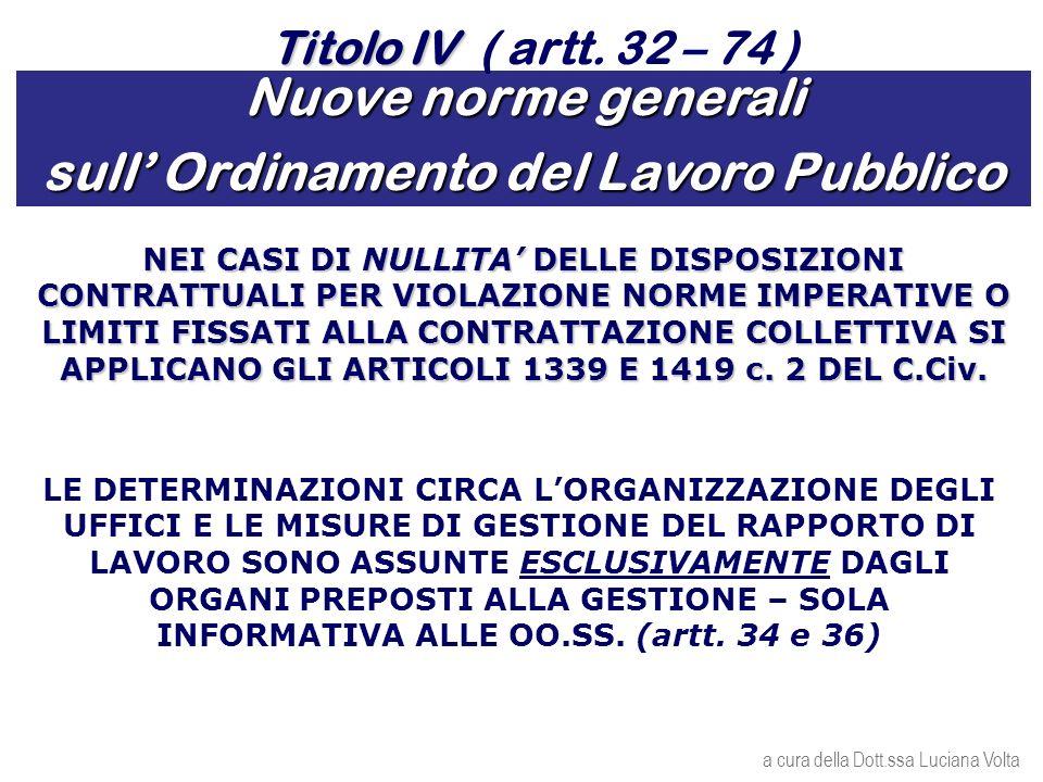Nuove norme generali sull Ordinamento del Lavoro Pubblico NEI CASI DI NULLITA DELLE DISPOSIZIONI CONTRATTUALI PER VIOLAZIONE NORME IMPERATIVE O LIMITI FISSATI ALLA CONTRATTAZIONE COLLETTIVA SI APPLICANO GLI ARTICOLI 1339 E 1419 c.