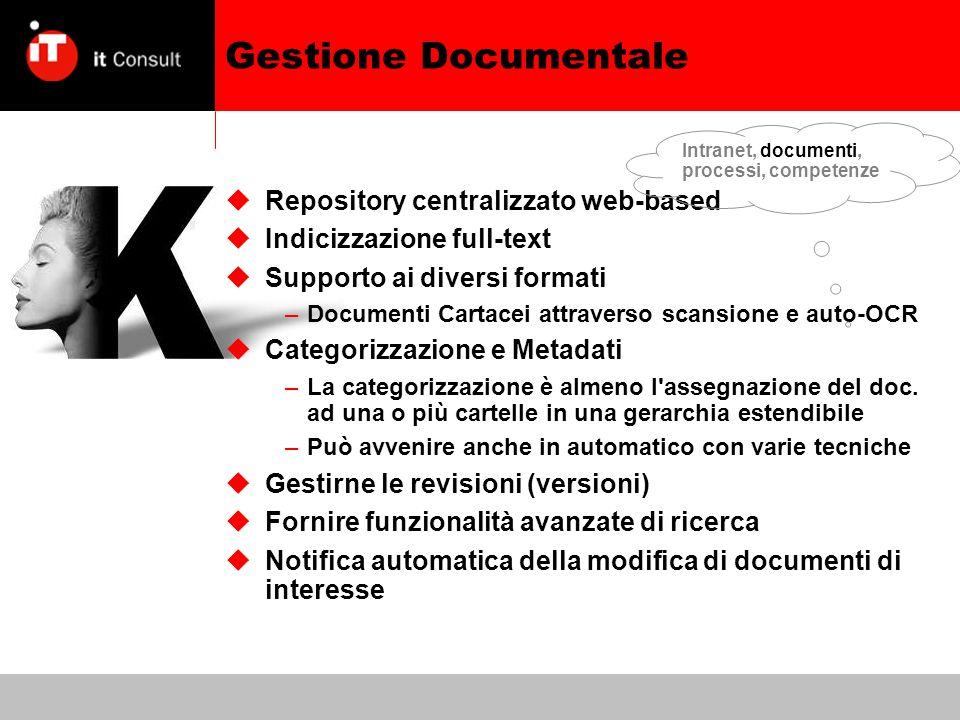Gestione Documentale Repository centralizzato web-based Indicizzazione full-text Supporto ai diversi formati –Documenti Cartacei attraverso scansione e auto-OCR Categorizzazione e Metadati –La categorizzazione è almeno l assegnazione del doc.