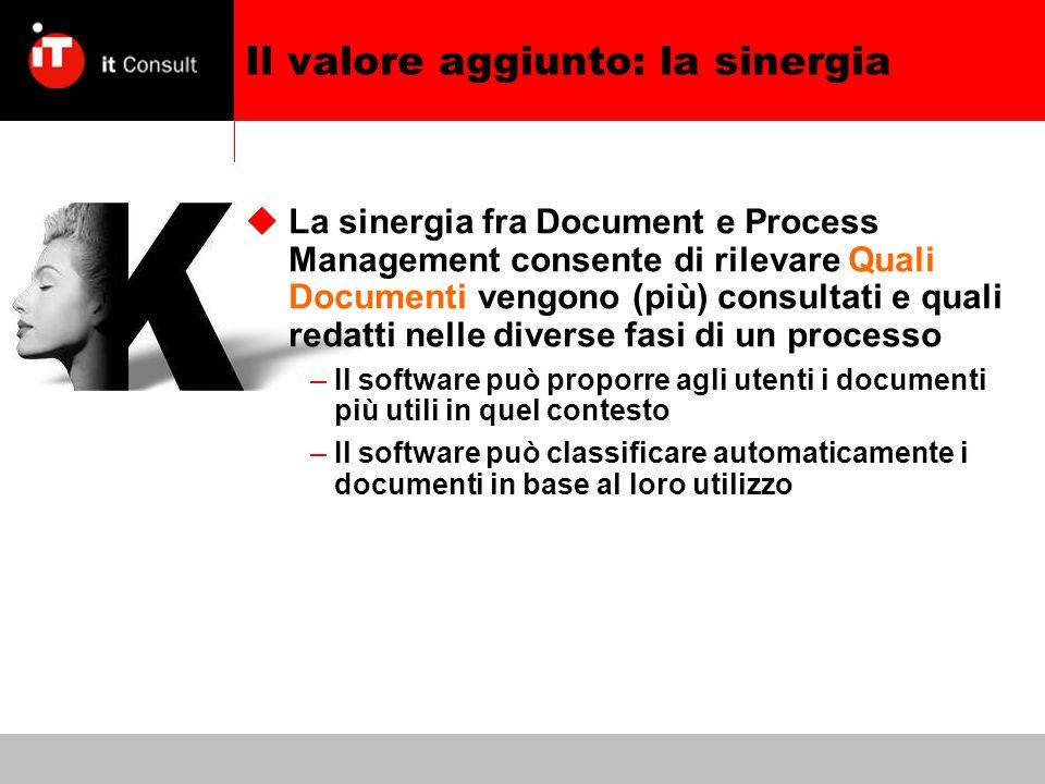 Il valore aggiunto: la sinergia La sinergia fra Document e Process Management consente di rilevare Quali Documenti vengono (più) consultati e quali redatti nelle diverse fasi di un processo –Il software può proporre agli utenti i documenti più utili in quel contesto –Il software può classificare automaticamente i documenti in base al loro utilizzo