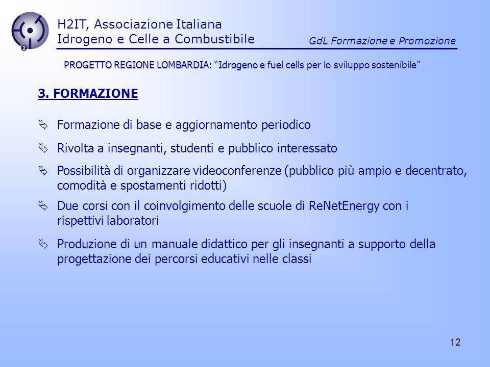 12 H2IT, Associazione Italiana Idrogeno e Celle a Combustibile GdL Formazione e Promozione 3. FORMAZIONE Formazione di base e aggiornamento periodico