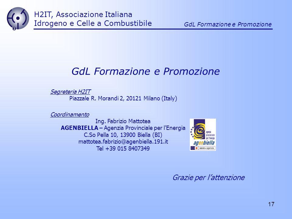 17 H2IT, Associazione Italiana Idrogeno e Celle a Combustibile GdL Formazione e Promozione Segreteria H2IT Piazzale R. Morandi 2, 20121 Milano (Italy)