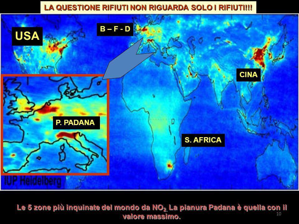 USA B – F - D CINA S. AFRICA P. PADANA Le 5 zone più inquinate del mondo da NO 2. La pianura Padana è quella con il valore massimo. LA QUESTIONE RIFIU