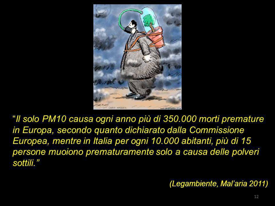 Il solo PM10 causa ogni anno più di 350.000 morti premature in Europa, secondo quanto dichiarato dalla Commissione Europea, mentre in Italia per ogni