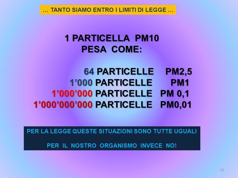 1 PARTICELLA PM10 PESA COME: 64 PARTICELLE PM2,5 1000 PARTICELLE PM1 1000000 PARTICELLE PM 0,1 1000000000 PARTICELLE PM0,01 PER LA LEGGE QUESTE SITUAZ