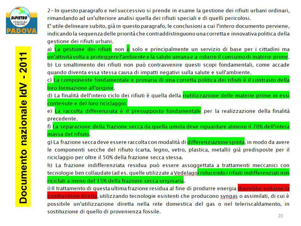 Documento nazionale IdV - 2011 20