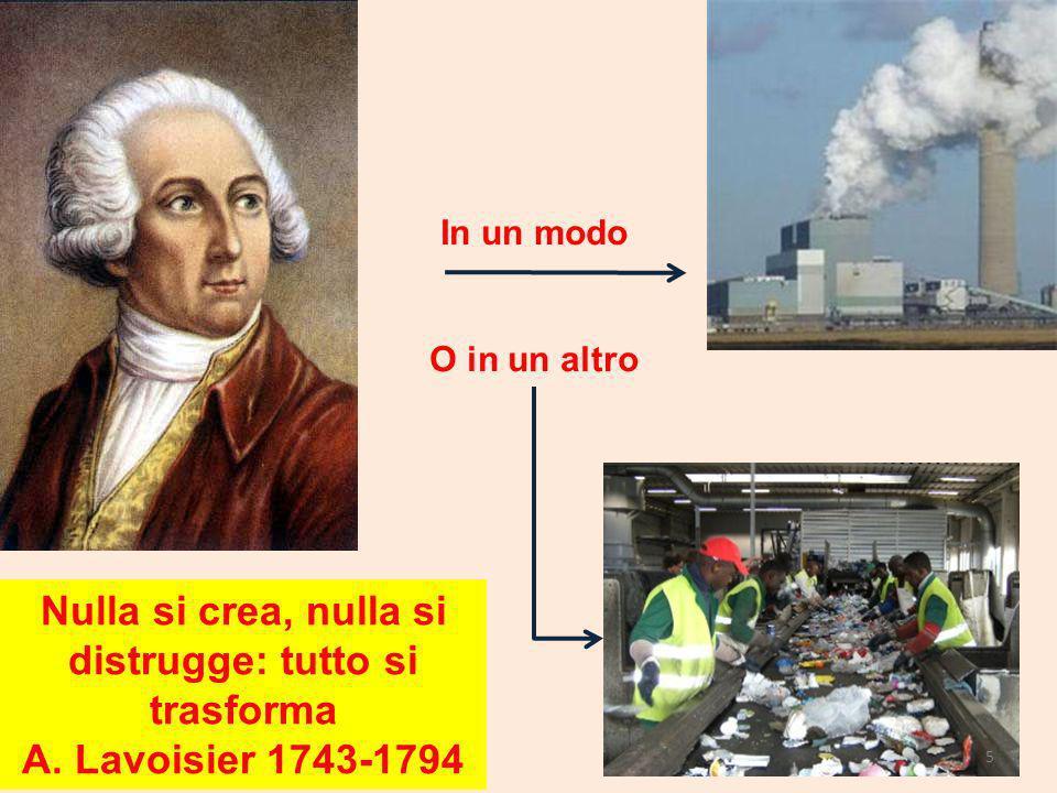 Nulla si crea, nulla si distrugge: tutto si trasforma A. Lavoisier 1743-1794 In un modo O in un altro 5
