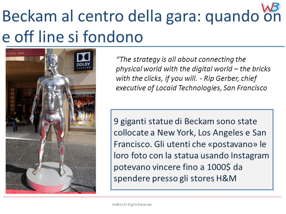 WeBizz All Rights Reserved 9 giganti statue di Beckam sono state collocate a New York, Los Angeles e San Francisco.