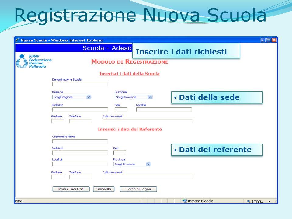Registrazione Nuova Scuola Inserire i dati richiesti Dati della sede Dati del referente