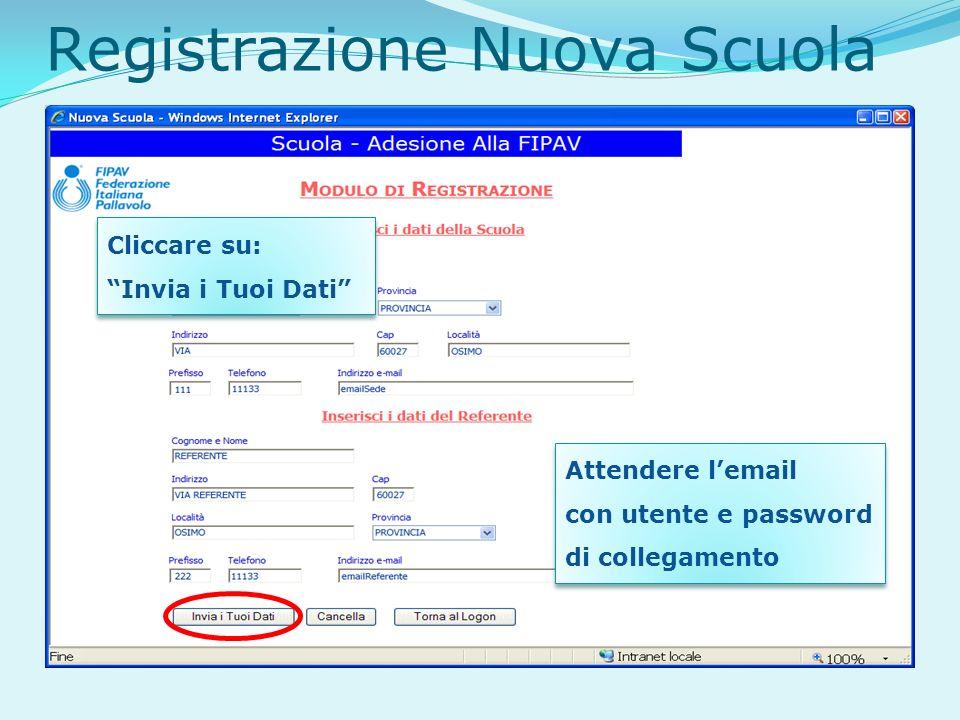 Registrazione Nuova Scuola Cliccare su: Invia i Tuoi Dati Attendere lemail con utente e password di collegamento