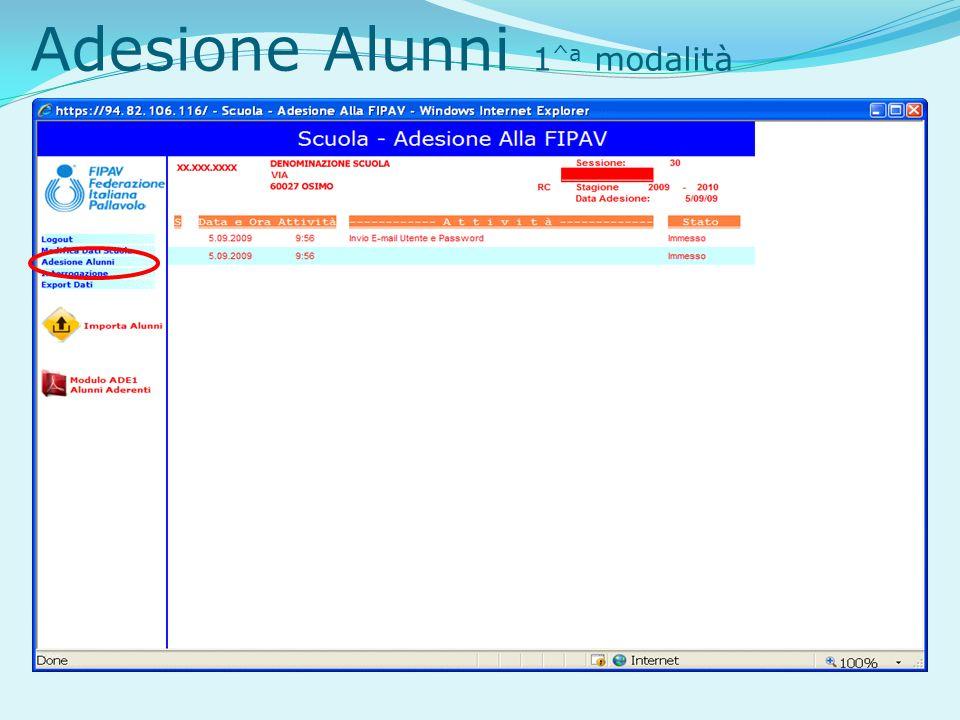 Adesione Alunni 1 ^a modalità