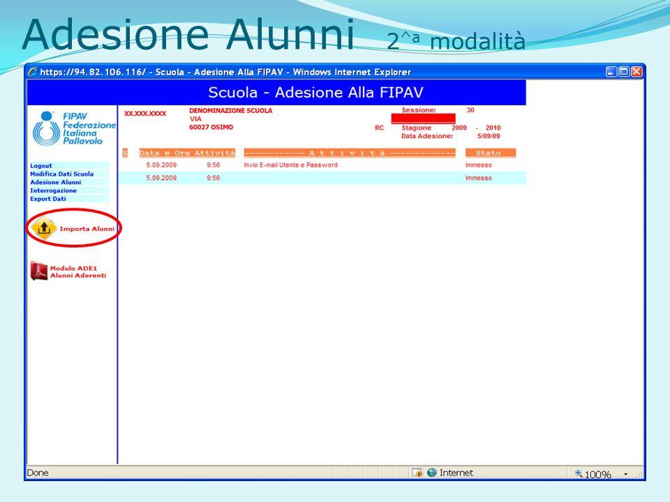 Adesione Alunni 2 ^a modalità