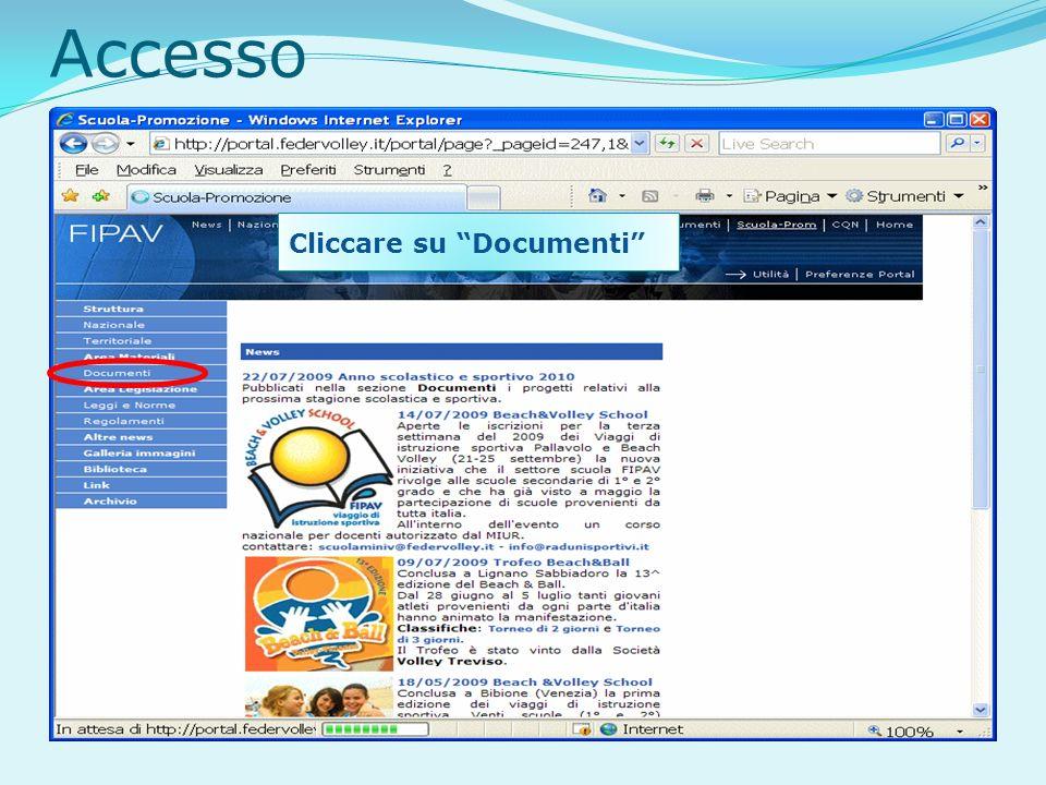 Accesso Cliccare su Documenti
