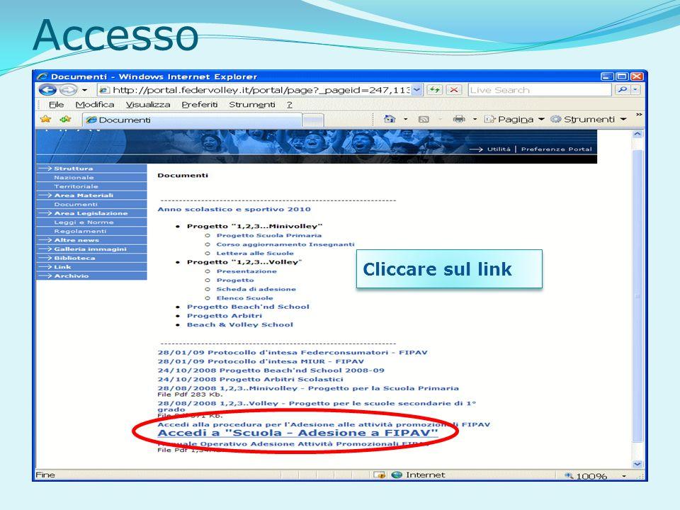 Accesso Cliccare sul link