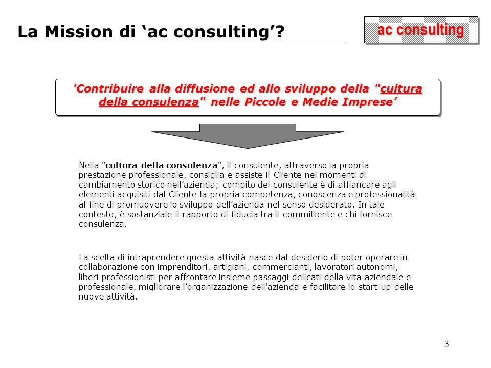 3 ac consulting La Mission di ac consulting? 'Contribuire alla diffusione ed allo sviluppo della