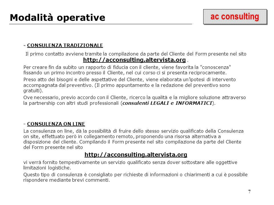 7 ac consulting Modalità operative - - CONSULENZA TRADIZIONALE Il primo contatto avviene tramite la compilazione da parte del Cliente del Form presente nel sito http://acconsulting.altervista.org.