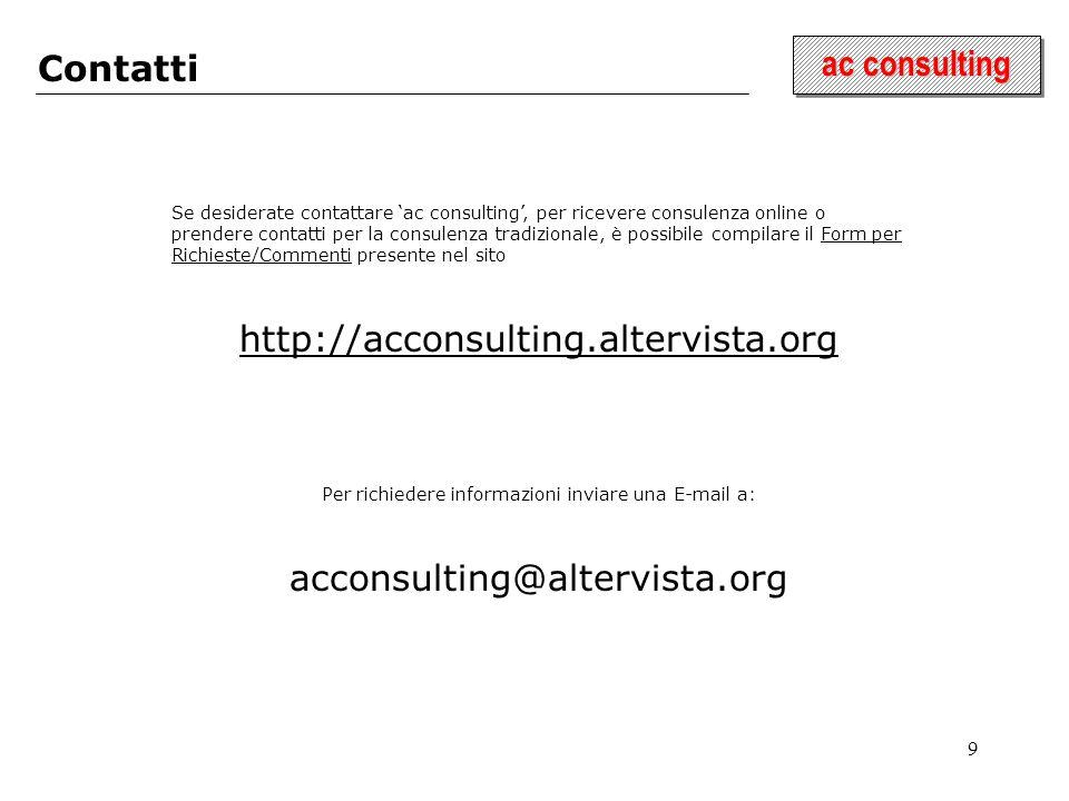 9 ac consulting Contatti Se desiderate contattare ac consulting, per ricevere consulenza online o prendere contatti per la consulenza tradizionale, è