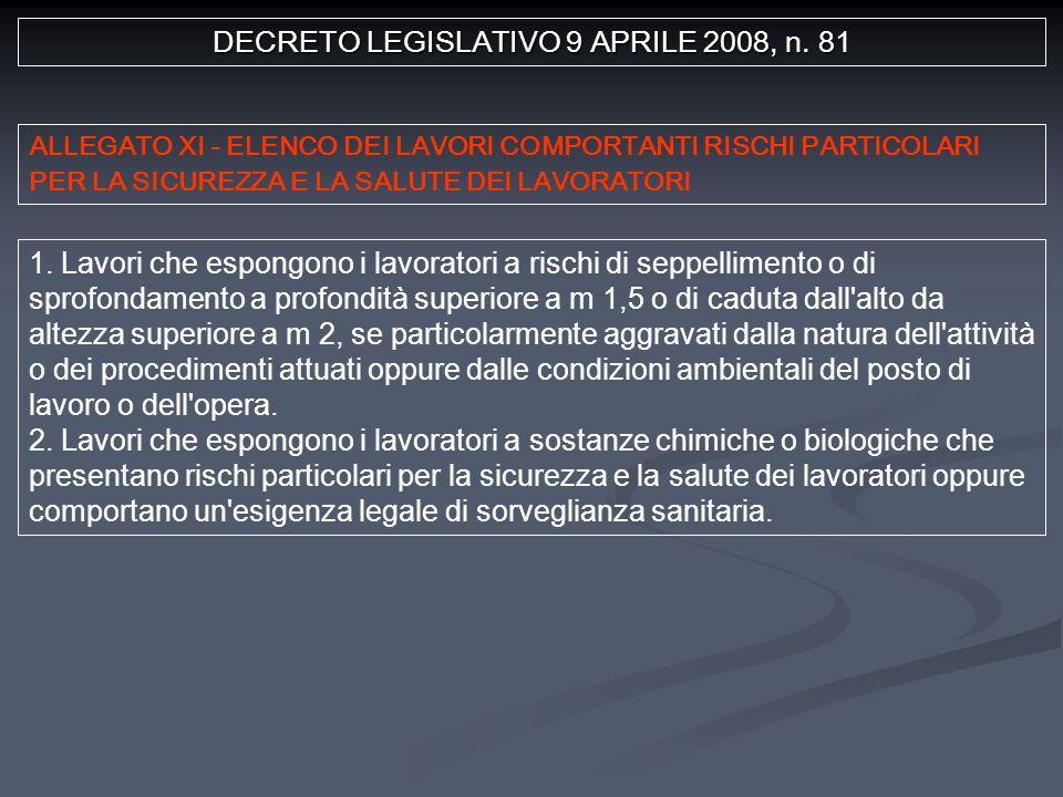 DECRETO LEGISLATIVO 9 APRILE 2008, n. 81 1.
