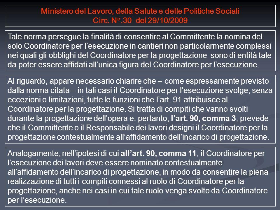 Ministero del Lavoro, della Salute e delle Politiche Sociali Circ.