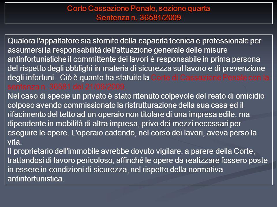 Corte Cassazione Penale, sezione quarta Sentenza n.
