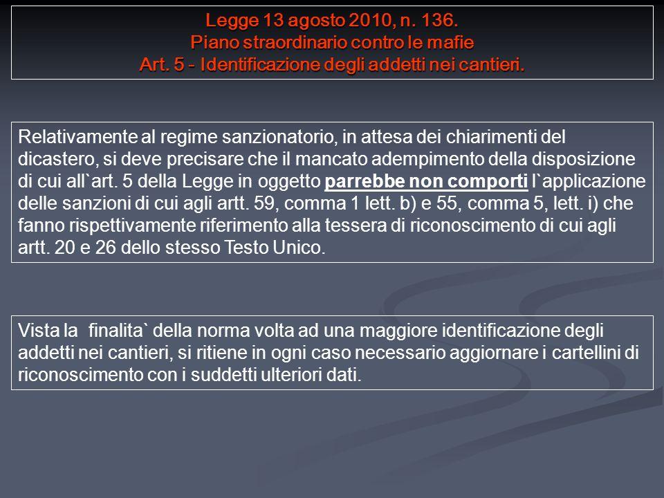 Legge 13 agosto 2010, n. 136. Piano straordinario contro le mafie Art.