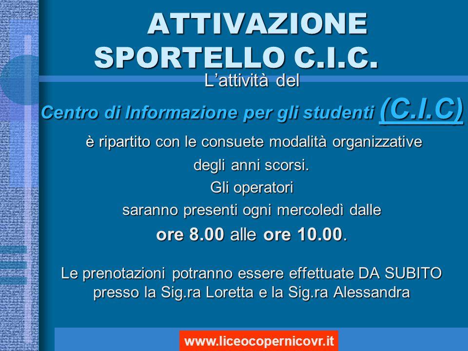 ATTIVAZIONE SPORTELLO C.I.C.