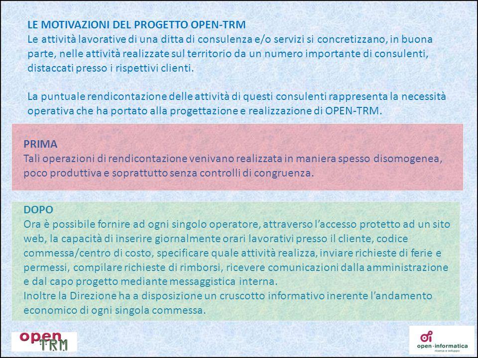 LE MOTIVAZIONI DEL PROGETTO OPEN-TRM Le attività lavorative di una ditta di consulenza e/o servizi si concretizzano, in buona parte, nelle attività re