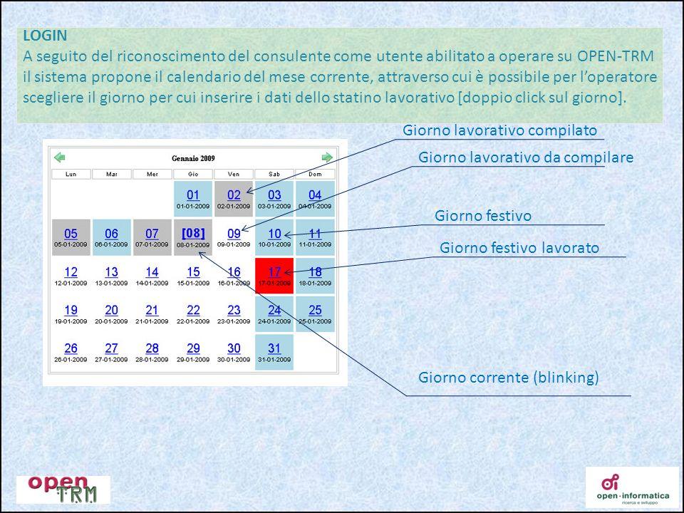 LOGIN A seguito del riconoscimento del consulente come utente abilitato a operare su OPEN-TRM il sistema propone il calendario del mese corrente, attr