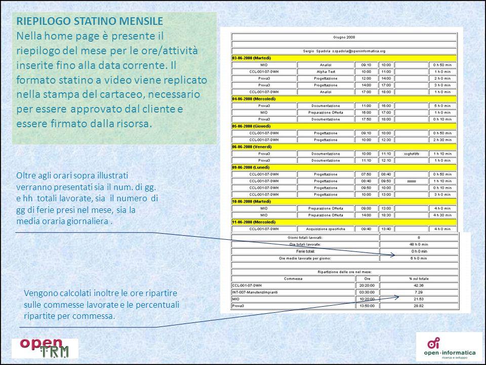 RIEPILOGO STATINO MENSILE Nella home page è presente il riepilogo del mese per le ore/attività inserite fino alla data corrente. Il formato statino a