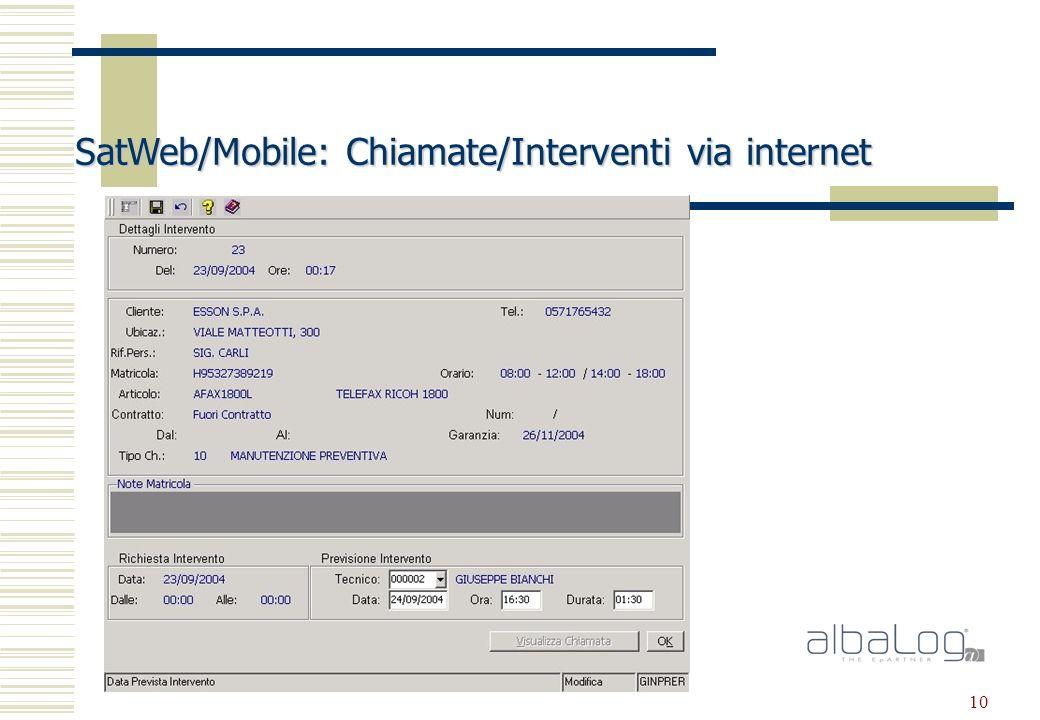 10 SatWeb/Mobile: Chiamate/Interventi via internet