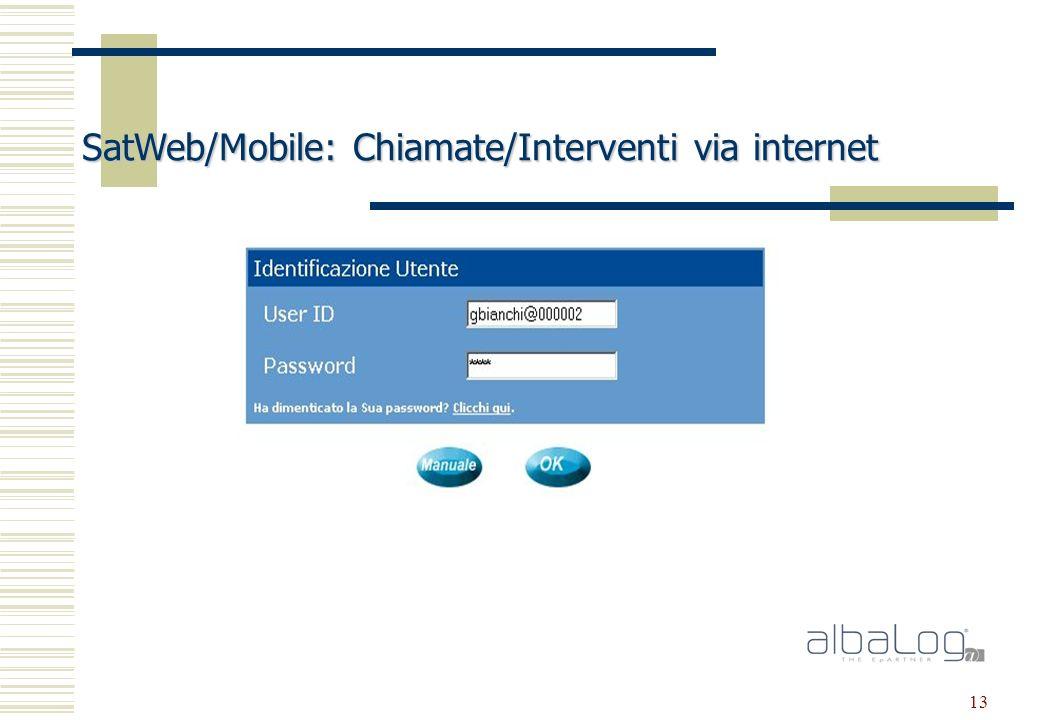 13 SatWeb/Mobile: Chiamate/Interventi via internet